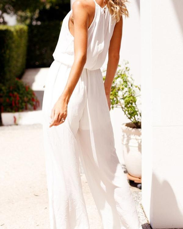 Casual Solid Sleeveless Drawstring Jumpsuit