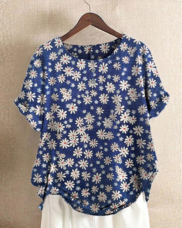 Daisy Floral Print Short Sleeve O-Neck T-shirt