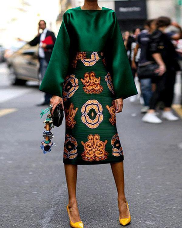 Summer Women Long Sleeve Printed Fashion Midi Plus Size Dress