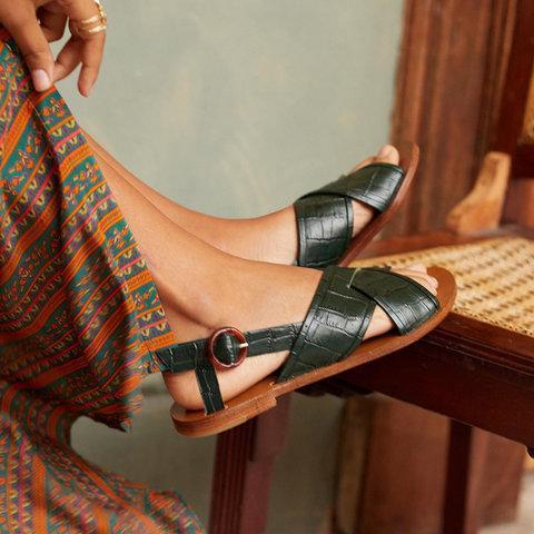 Women Casual Fashion Slingback Crisscross Sandal