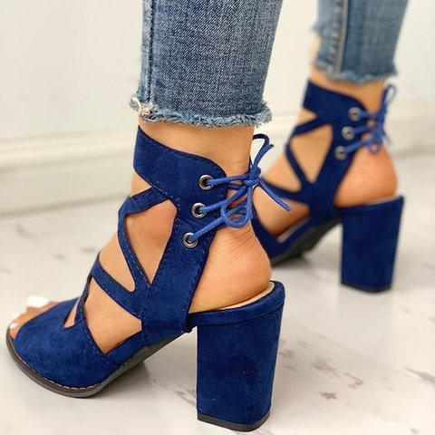 Women Lace-Up Casual Chunky Heel Pu Sandals