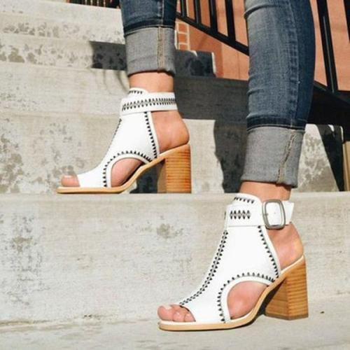 Fashion High Heels Cut Out Ankle Strap Pumps Sandals