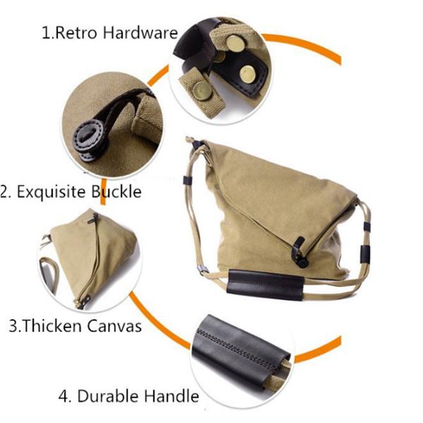 Women Vintage Canvas Casual Large Capacity Crossbody Bags Leisure Retro Shoulder Bags
