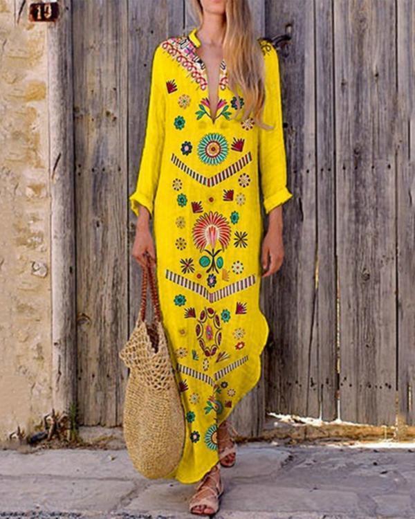 V-Neck Bohemian Printed Long Sleeve Maxi Dress