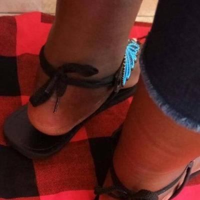 Blue Lace-Up Flat Heel Flip-flops Womens Summer Sandals