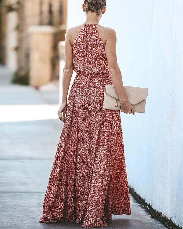 Fashion Women Casual Print Halter Evening Party Bandage Sleeveless Long Dress
