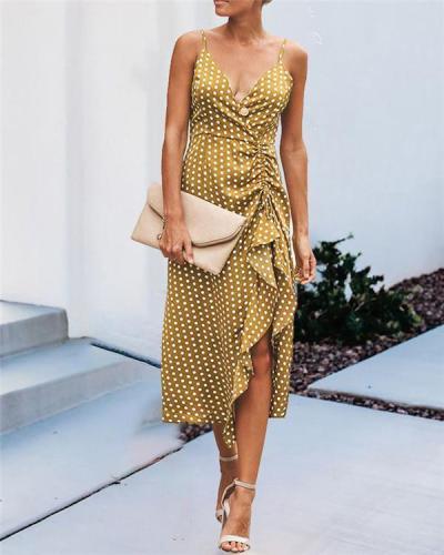 Spaghetti Sexy Polka Dots V Neck Holiday Dresses Shift Daytime Midi Dresss
