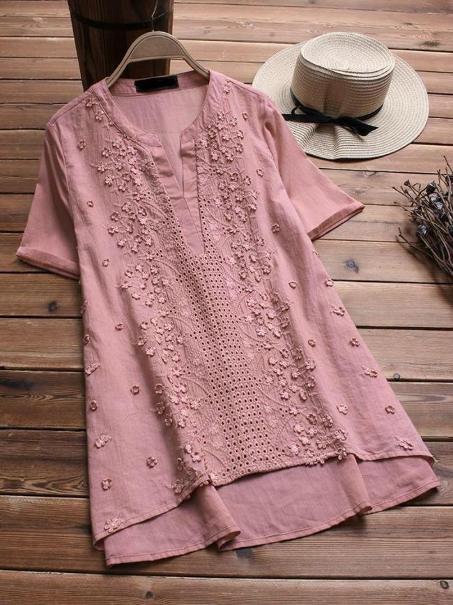 Vintage Embroidered Short Sleeve V-neck Women's Shirts
