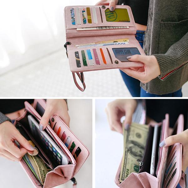 Women Retro PU Leather Clutch Bags Card Holder Wallet Purses