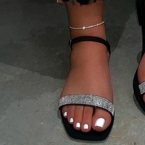Women Ankle Strap Block Heel Rhinestone Sandals