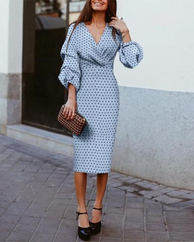 Polka Dots V Neck Holiday Dresses Shift Daytime Midi Dresss