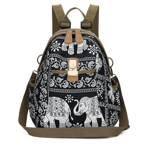 Women Elephant Print Travel Backpack National Shoulder Bag