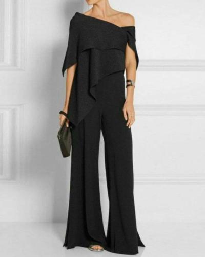 Fashion Off-Shoulder Pure Colour Jumpsuit