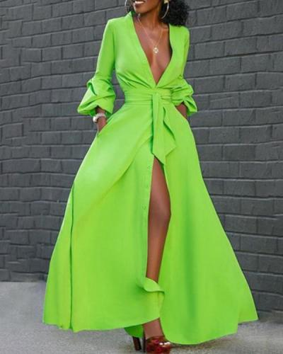 Vintage V Neck Long Sleeve Slit Maxi Dress