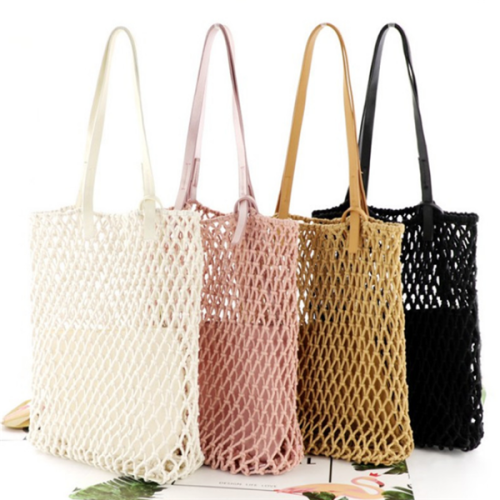 Cotton Rope Woven Hollow Shoulder Portable Beach Fish Net Bag