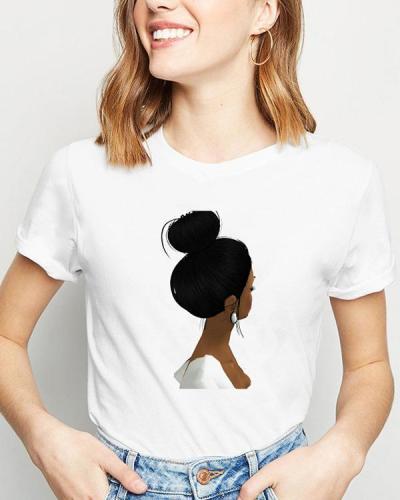 Ladies Summer Casual Short Sleeves Cartoon Printed T-shirt