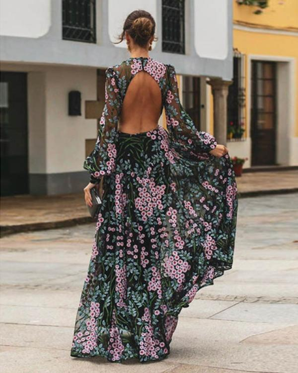 Sexy Backless Slim Print Dress