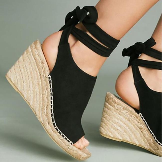 Women Flocking Wedge Sandals Vie Tie Up Shoes