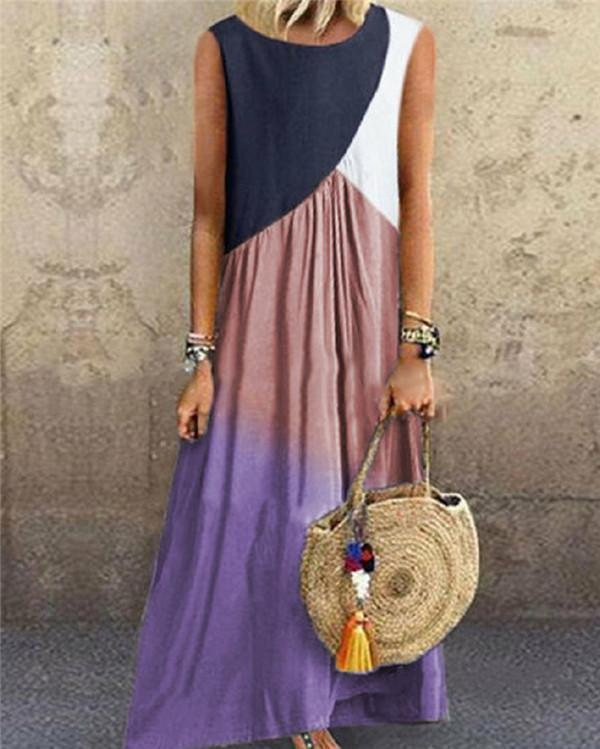 Irregular Patched Color Casual Daily Fashion Maxi Dresses