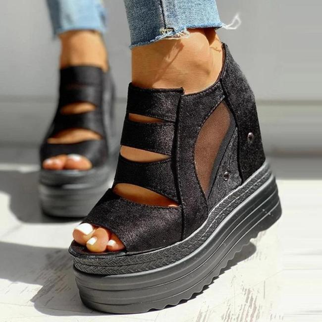 Platform Peep Toe Side Zipper Patchwork See-Through Sandals