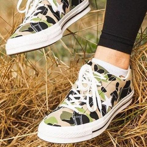 Camouflage Artificial Suede All Season Sneakers