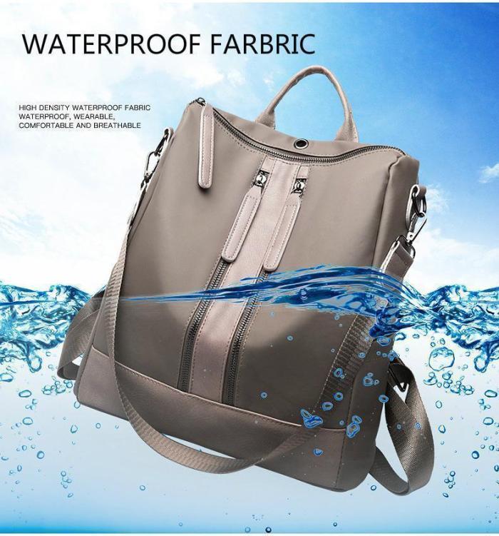 Women Leather Oxford Cloth Shoulder Bag Travel Waterproof Backpack
