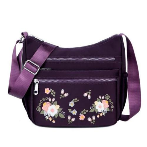 Luxury Embroidery Women Waterproof Nylon Crossbody Bags