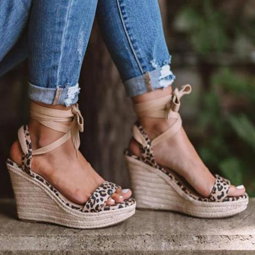Women Casual Roman Leopard Wedge Sandals