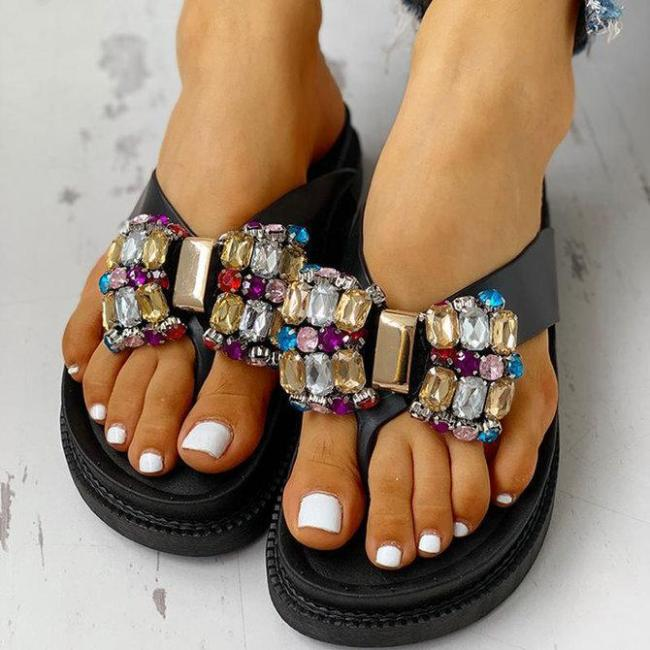 Studded Bowknot Toe Post Flat Sandals