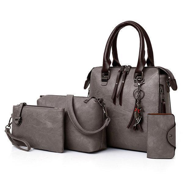 4 PCS Vintage Multi-function Handbag Faux Leather Crossbody Bag
