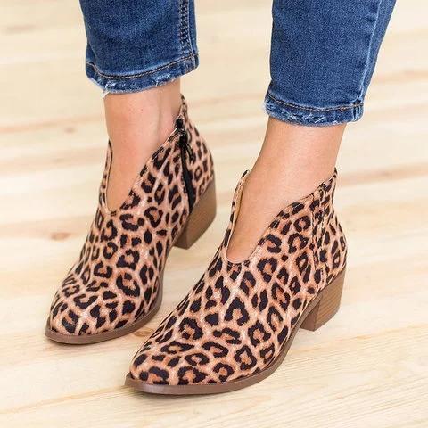 Women Deep V Sexy Booties Casual Comfort Zipper Flat Shoes