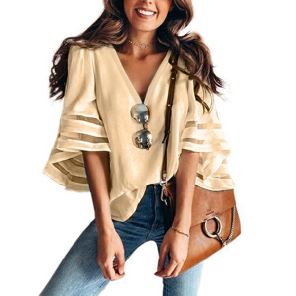 Plus Size Women Loose Chiffon Shirt V-neck Stitching Casual Top Blouses