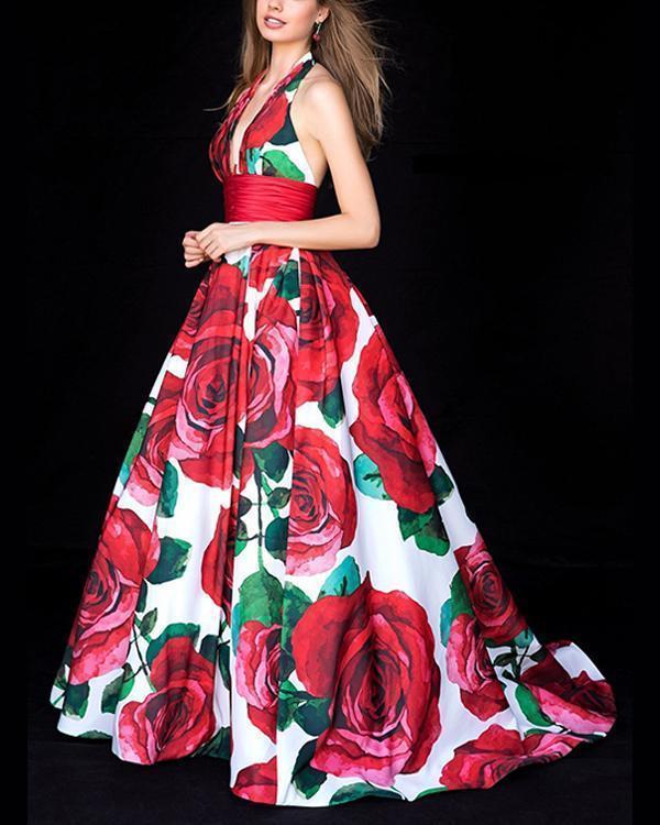 Vintage Maxi Dresses Printed  V Neck Elegant  Dresses