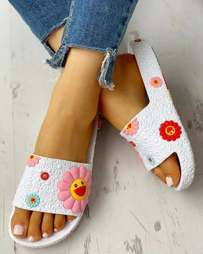 Colorful Smile Sunflower Emblished Beach Slides Slippers