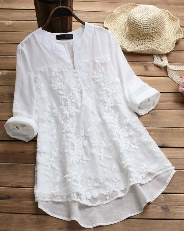 Long Sleeve Casual V Neck Vintage Blouses
