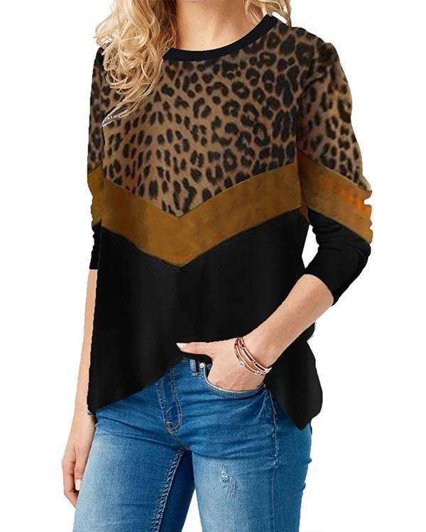 Leopard Long Sleeve Cotton-Blend Shirts & Tops