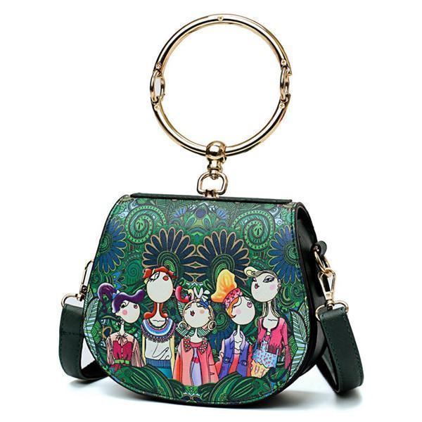 Causal Bohemian Forest Crossbody Bag PU Leather Handbag