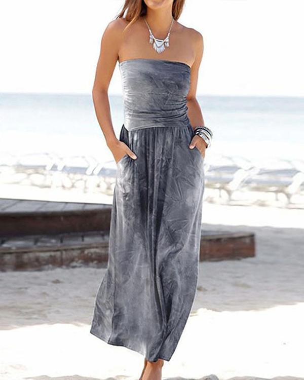 Strapless Gradient Print Paneled Elegant Backless Maxi Dress