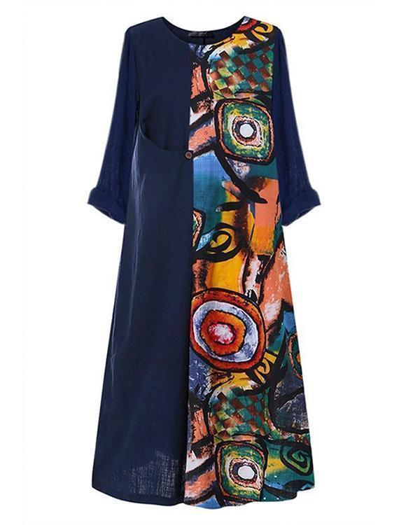 Casual Printed 3/4 Sleeves Paneled Maxi Dress