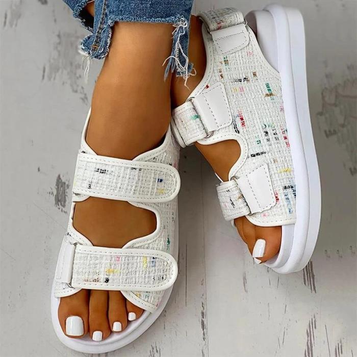Women Roman Linen Magic Tape Comfy Flat Sandals