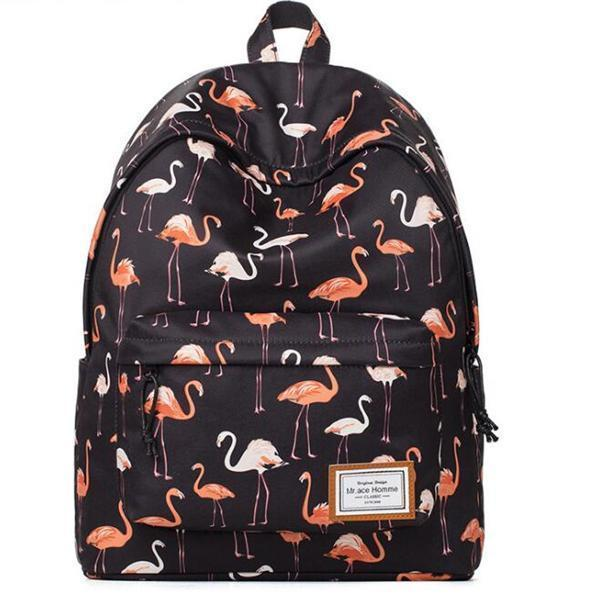 Women's Fashion Flamingo Backpack College School Bags Travel Backpack