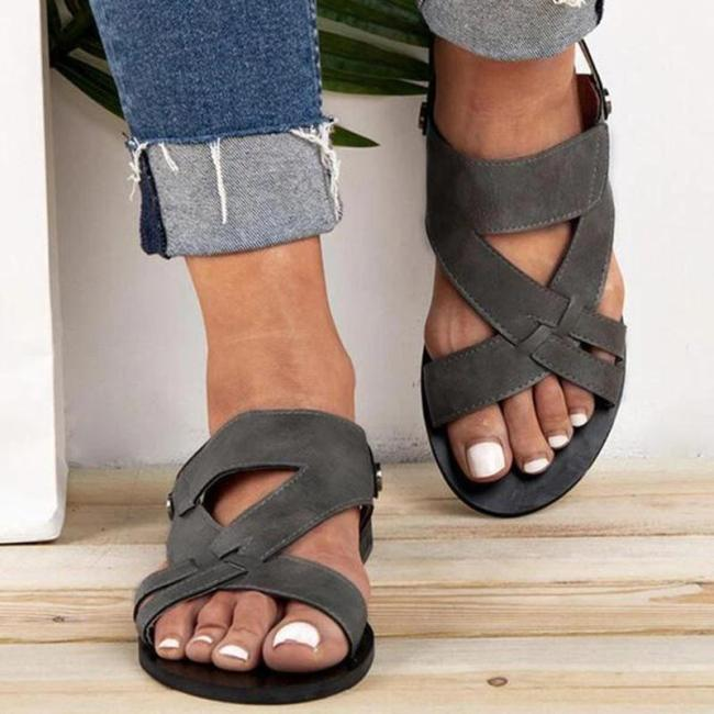 Women Chic Solid Hollow out Flat Strap Sandals