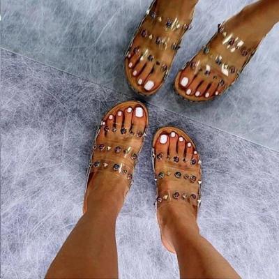 Women Large Size Rivet Transparent Wedge Slippers