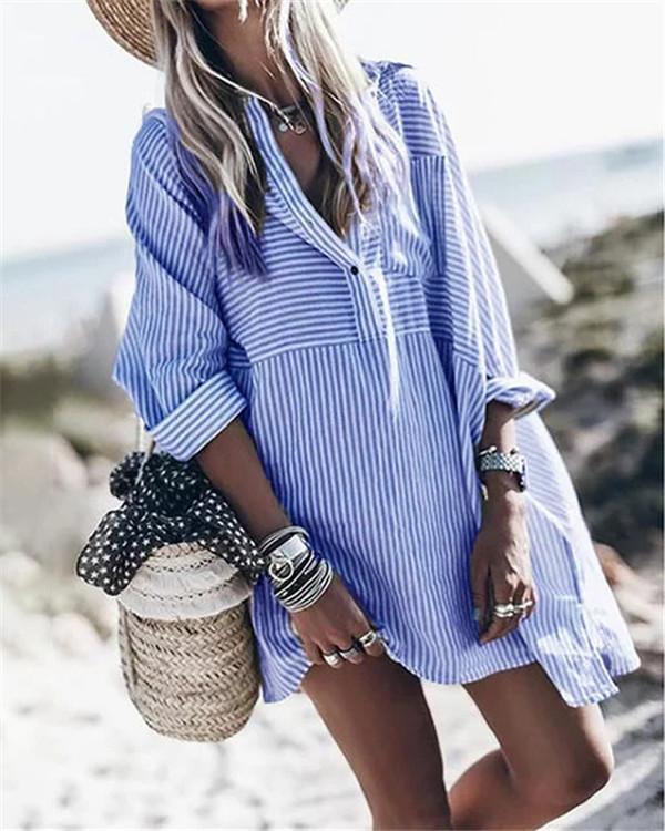 Women's Fashion  Striped Daily Dress Tops