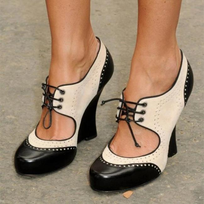 Vintage Oxford Heels Cut-Out Lace-Up Sandals