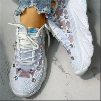 Women's Mesh Rhinestone Platform With Wedges And Hollowed Out Sneakers