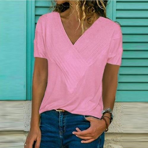 Women V Neck Short Sleeve Cotton Plus Size T-Shirts