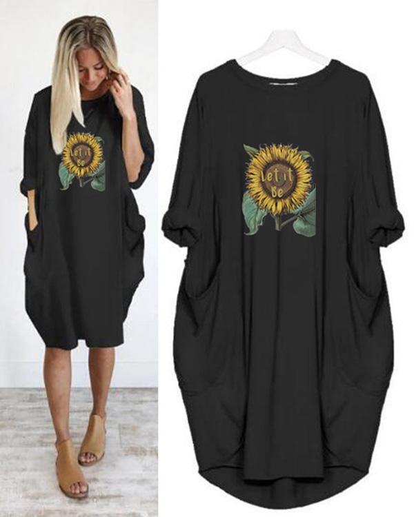 Summer Women Floral Printed Casual Irregular Plus Size Dress