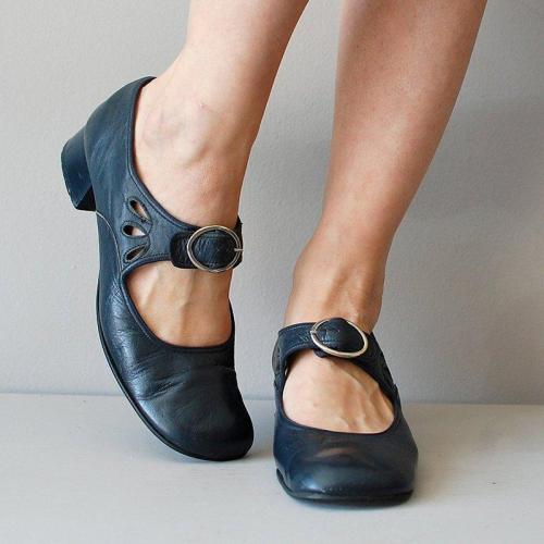 Mary Jane Summer Low Heel Vintage Women Shoes