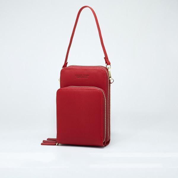 Solid PU leather Clutch Bag Card Phone Bag Crossbody Bag